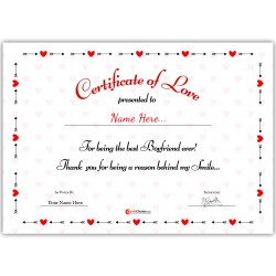Personalized World's Best Boyfriend Certificate