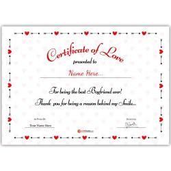 Personalized World's Best Boyfriend Certificate