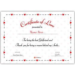 Personalized World's Best Girlfriend Certificate